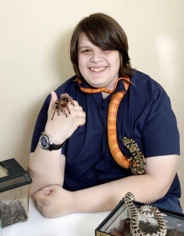 Liam Andrews con i suoi animali esotici