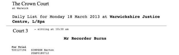 Warwick Crown Court: Bart Simpson e Mr Burns