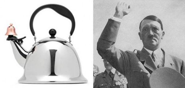 Bollitore con profilo Hitler: confronto