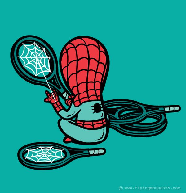 Spiderman-acccordatore di racchette