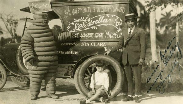 Omino Michelin: cartolina primo Novecento