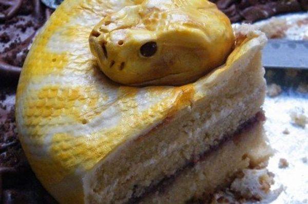 Torta a forma di serpente: fetta