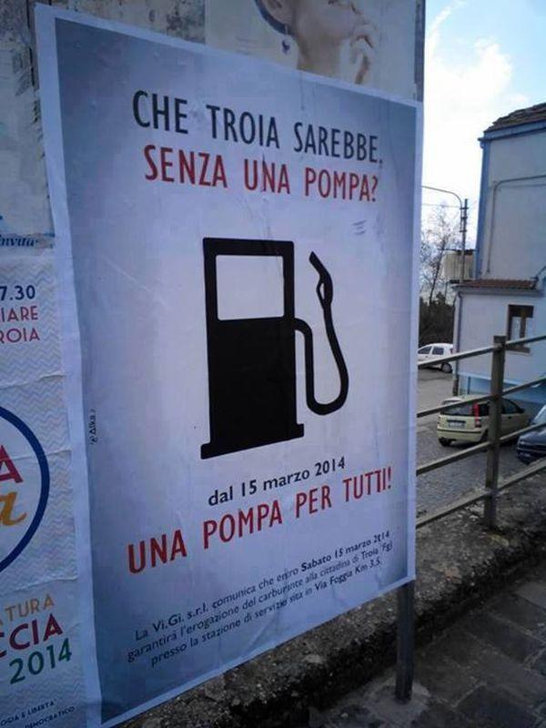 pubblicità benzinaio a Troia