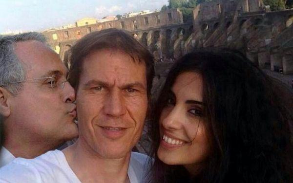 Lotito con Rudi Garcia e Francesca Brienza