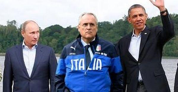 Lotito con Obama e Putin