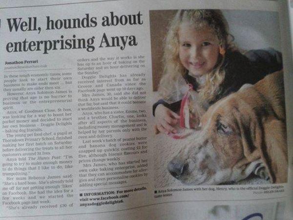 Anya bambina-imprenditrice: articolo