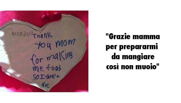 Lettera bambino alla mamma per cibo