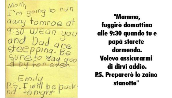 Lettera di un bambino ai genitori in fuga