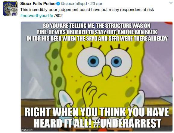 sioux falls police meme - arrestato per salvare la birra